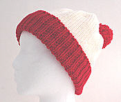 knitted hat with contrast cuff and pompom