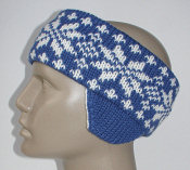 blue snowflake headband with earflaps