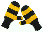 knitted mittens, black and gold stripes