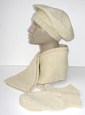 winter white wool set: scarf, beret, mittens